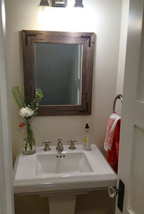 Barnwood Framed Bathroom Mirrors 24x30 reclaimed wood bathroom mirror - rustic modern home decor