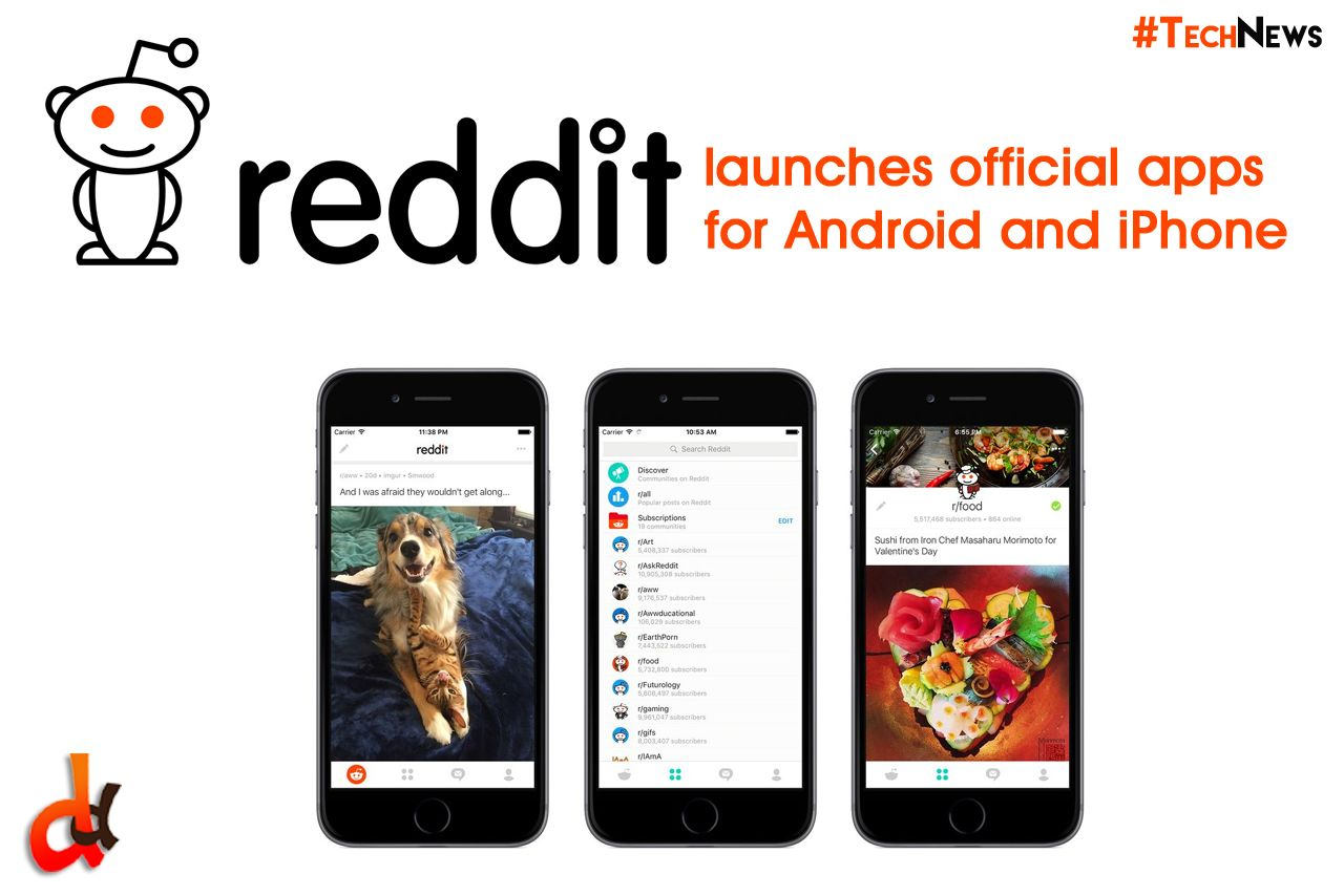 Reddit tailored apps for iOS and Android, with the iPhone