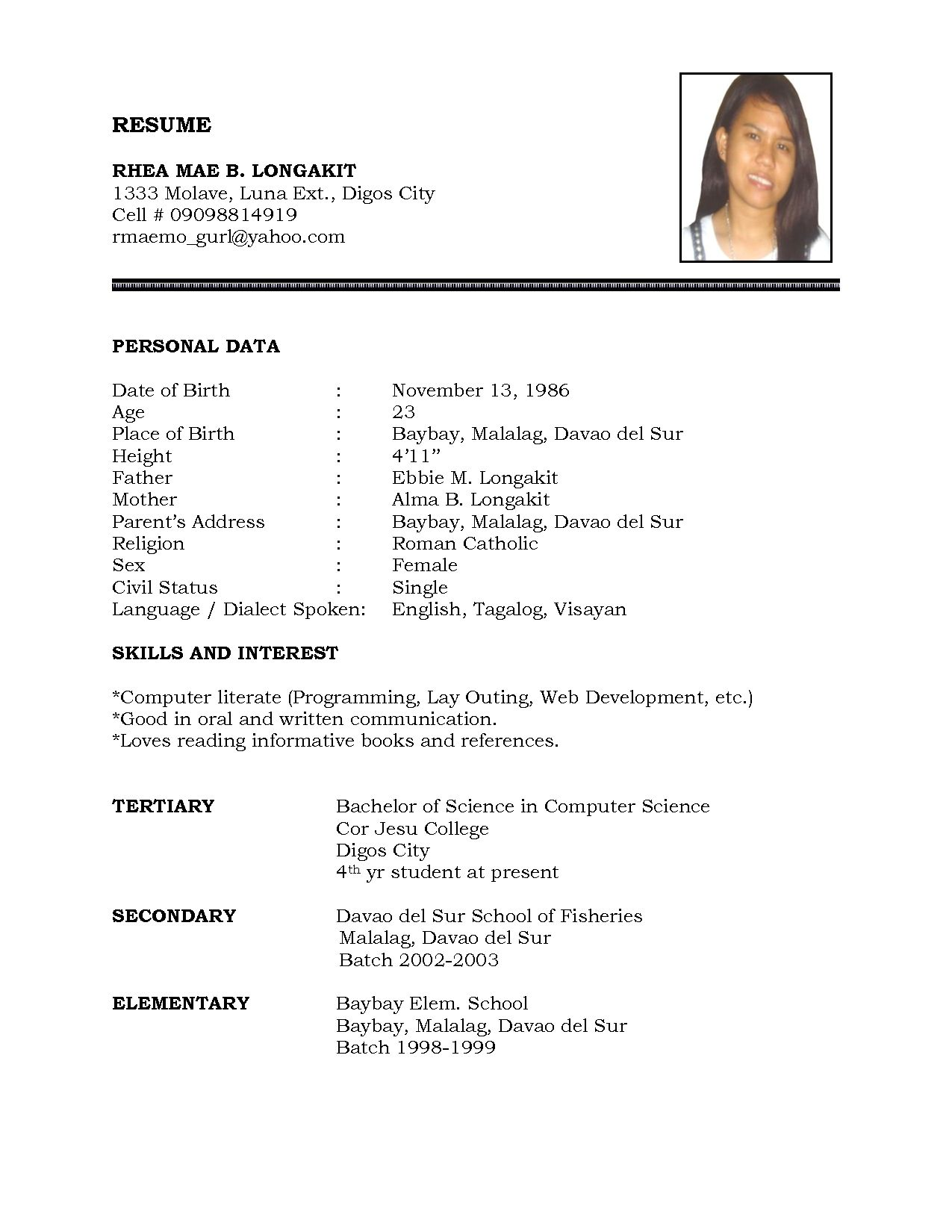 Examples For Resume Resume Sample Simple De9e2a60f The Simple Format Of Resume