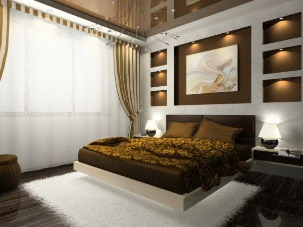 Modernes schlafzimmer braun  Innendesign Ideen Wanddeko Gestaltung-Braun gelb | Ideen rund ums ...