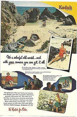 1952 Print Ad Eastman Kodak Beach Grumman Canoe Vintage