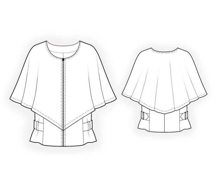 Poncho With Cape - Sewing Pattern #4480 Made-to-measure sewing ...