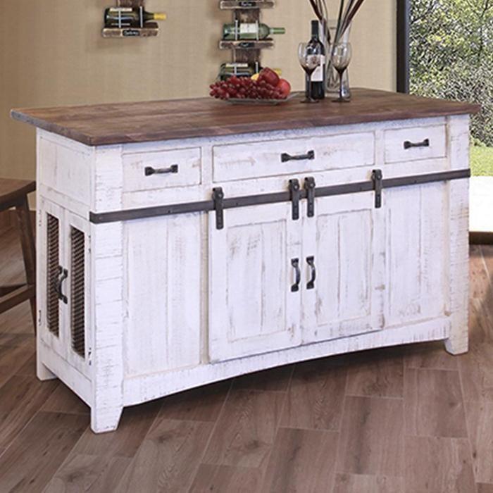 Target Target White Kitchen Island Tables: Pueblo 3-Drawer Kitchen Island In Antique White