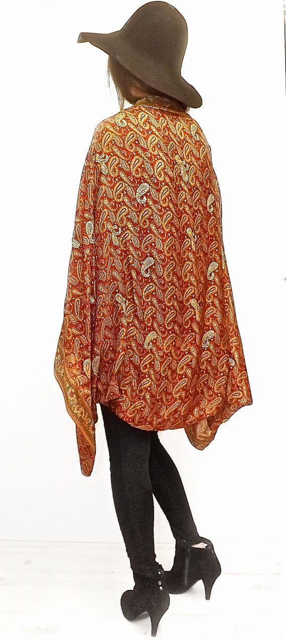 Silk beaded Kimono jacket / Shrug / cover up by Bibiluxe on Etsy