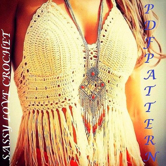 Crochet Crop Top PATTERN Designer Boho Halter Fringed Crop Top ...