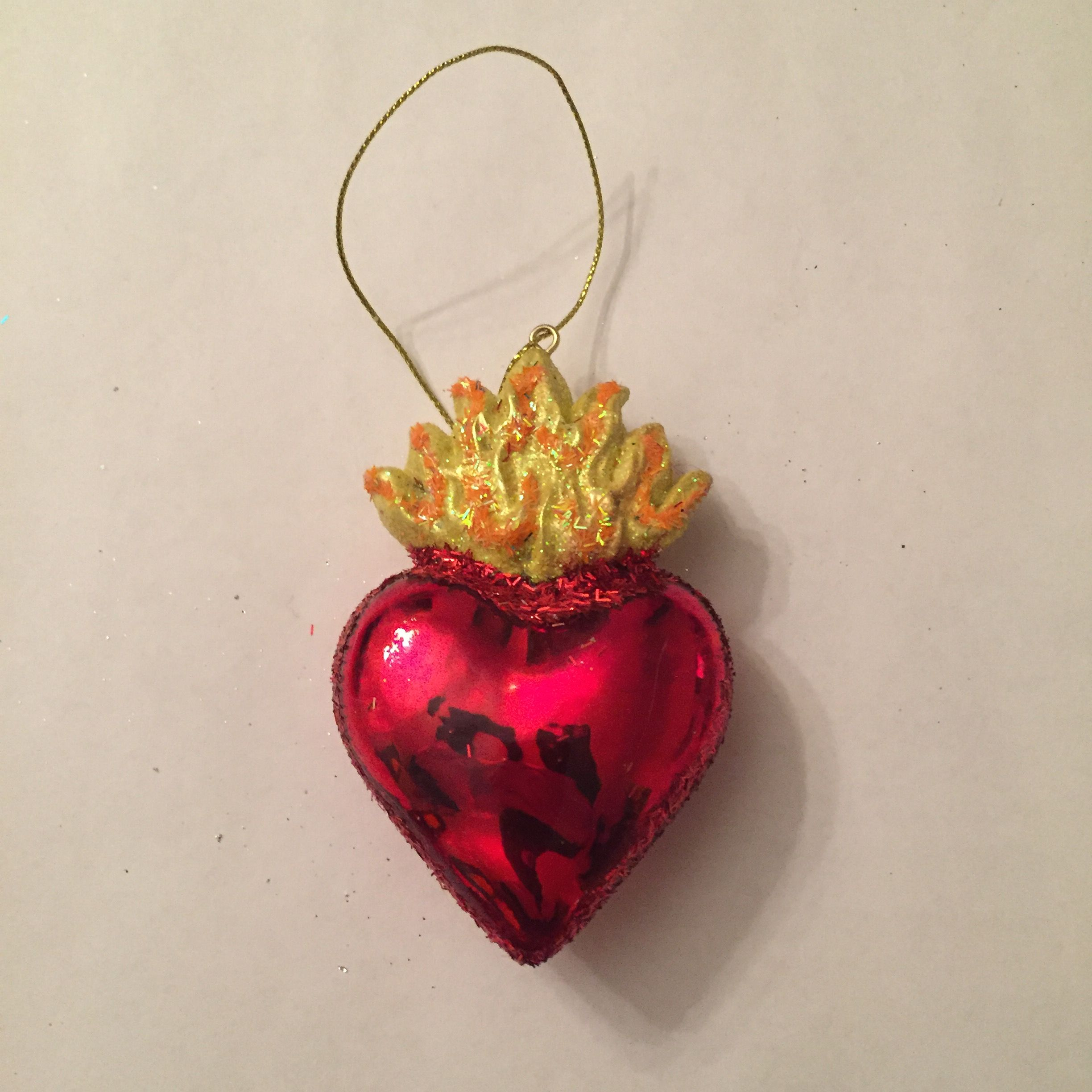 red heart shaped ornaments resin plastic 2 ornaments bought