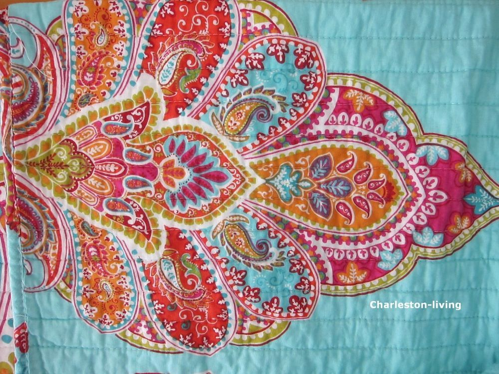 STOREHOUSE MOROCCAN 3pc F/QUEEN Quilt SET Aqua Red Blue Orange PAISLEY  MEDALLION