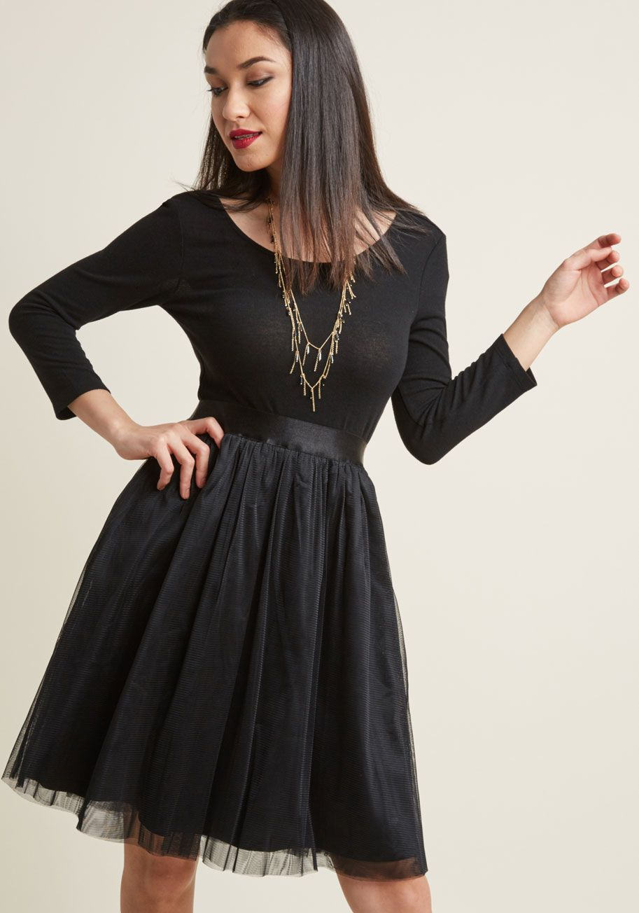 Solid A Line Dress With Tulle Skirt Modcloth A Line Dress Tulle Skirt Black Tulle Ballerina Skirt [ 1304 x 913 Pixel ]