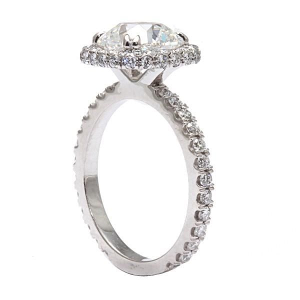 Floating Diamond With Halo Engagement Rings On Finger 47