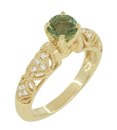 "Art Deco Filigree Green Sapphire and Diamond ""Charlene"" Ring in 14 Karat Yellow Gold $1,425.00 http://www.antiquejewelrymall.com/r1190ygs.html"
