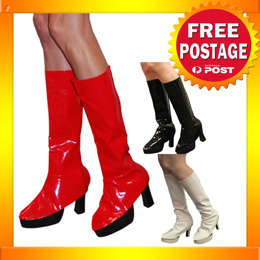 AS62 60s 70s Black White Red Boot Covers Adult Halloween Costume ...