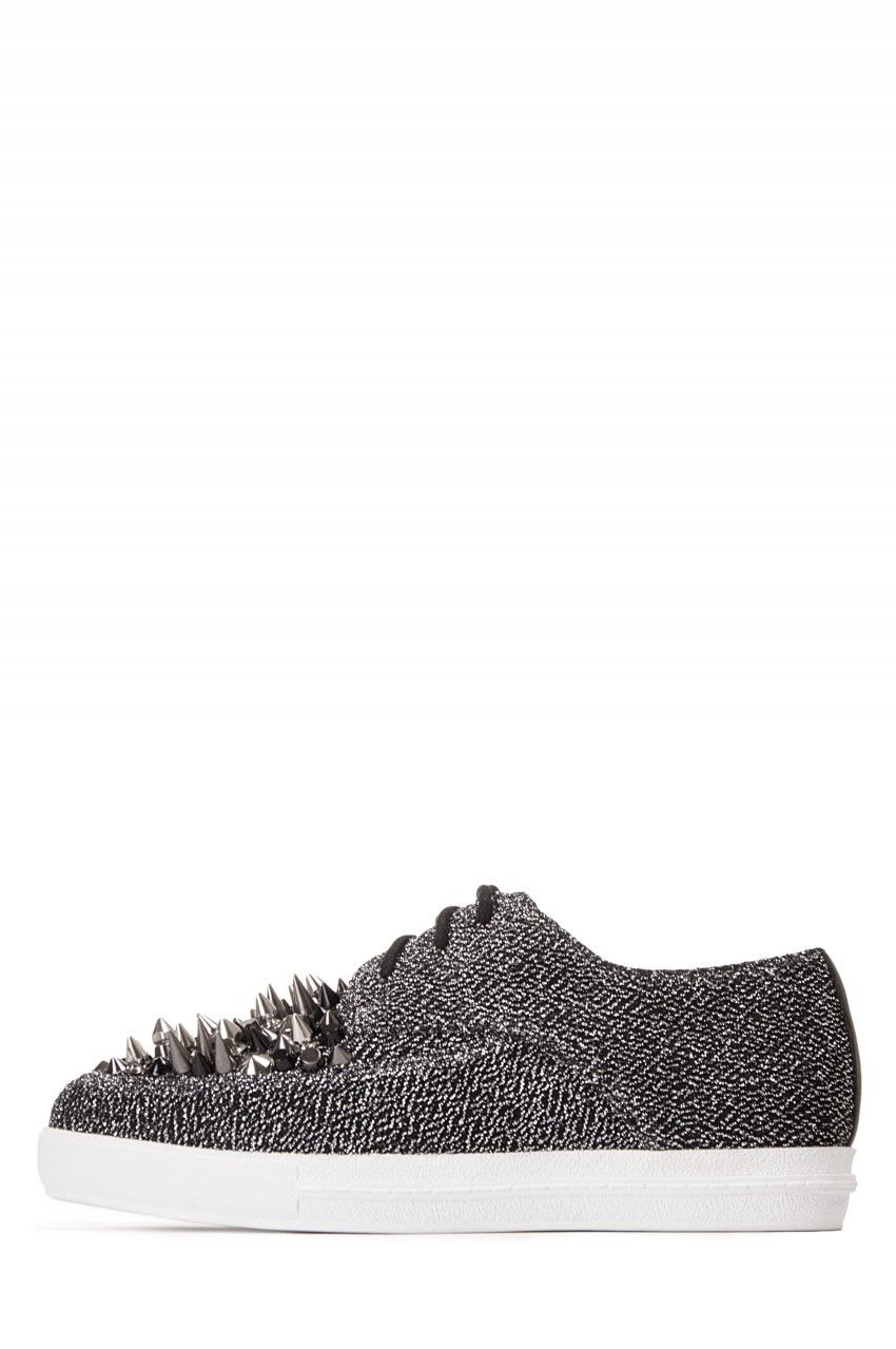 Jeffrey Campbell Shoes FAV-SPIKE STUD MUFFIN in Black Lame Multi