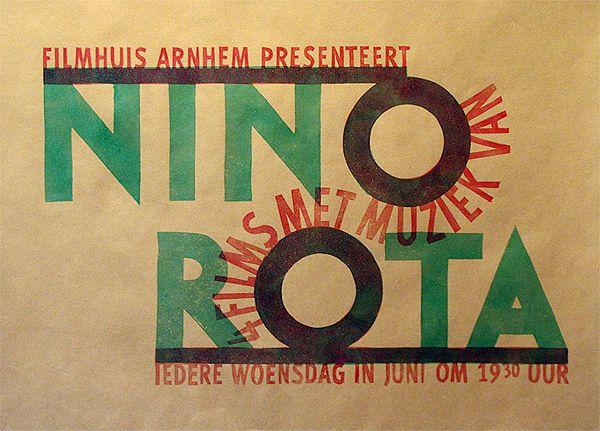 Typografie. Nino Rota. Kartondruk in kleine oplage. Przewalski Grafisch Ontwerpers Arnhem