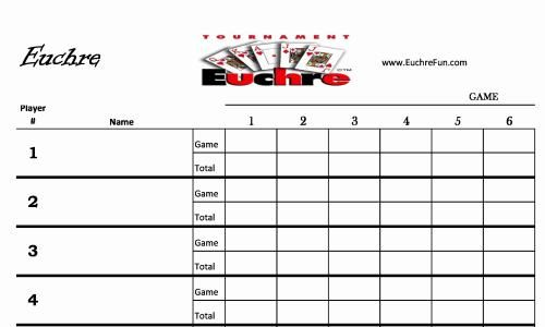 Euchre Main Score Board For Euchre Tournament For Any Number Of