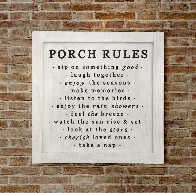 Lg, Porch Rules Sign, Porch Decor, Porch Wall Sign, Porch Rules, Farmhouse Porch Sign, Farmhouse Porch Wall Decor, Porch Decor, Fixer Upper
