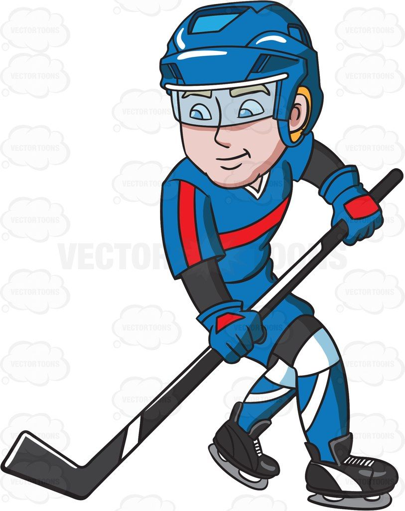 A Hockey Player Getting Ready To Pass The Puck Hockey Players Hockey Cartoon People