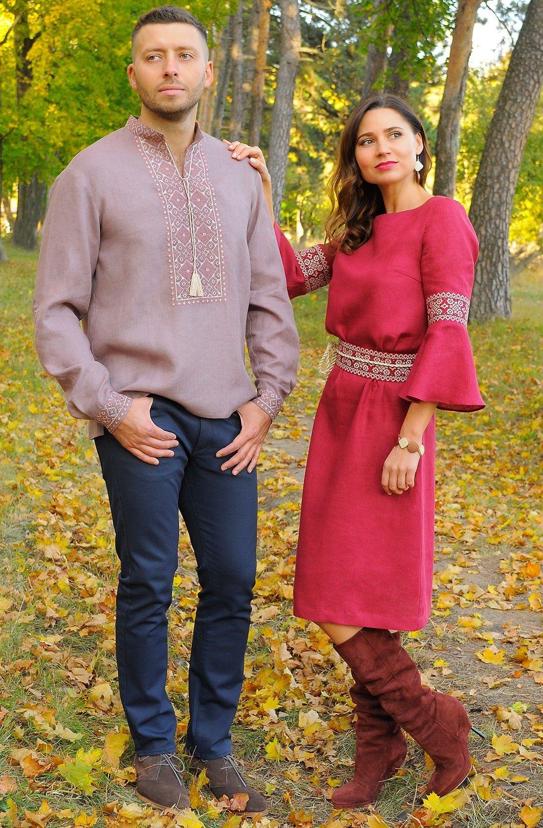 Оригінальний набір українських вишиванок на чоловіка та жінку з  високоякісного м якого льону від молодого a369c264be021