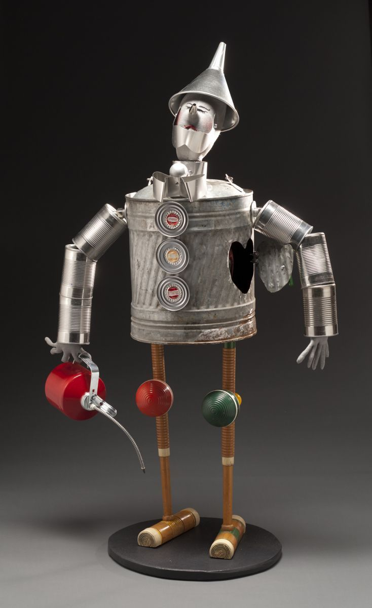 The Tin Man made from old kerosene, soap, cans, old plumbing parts ...