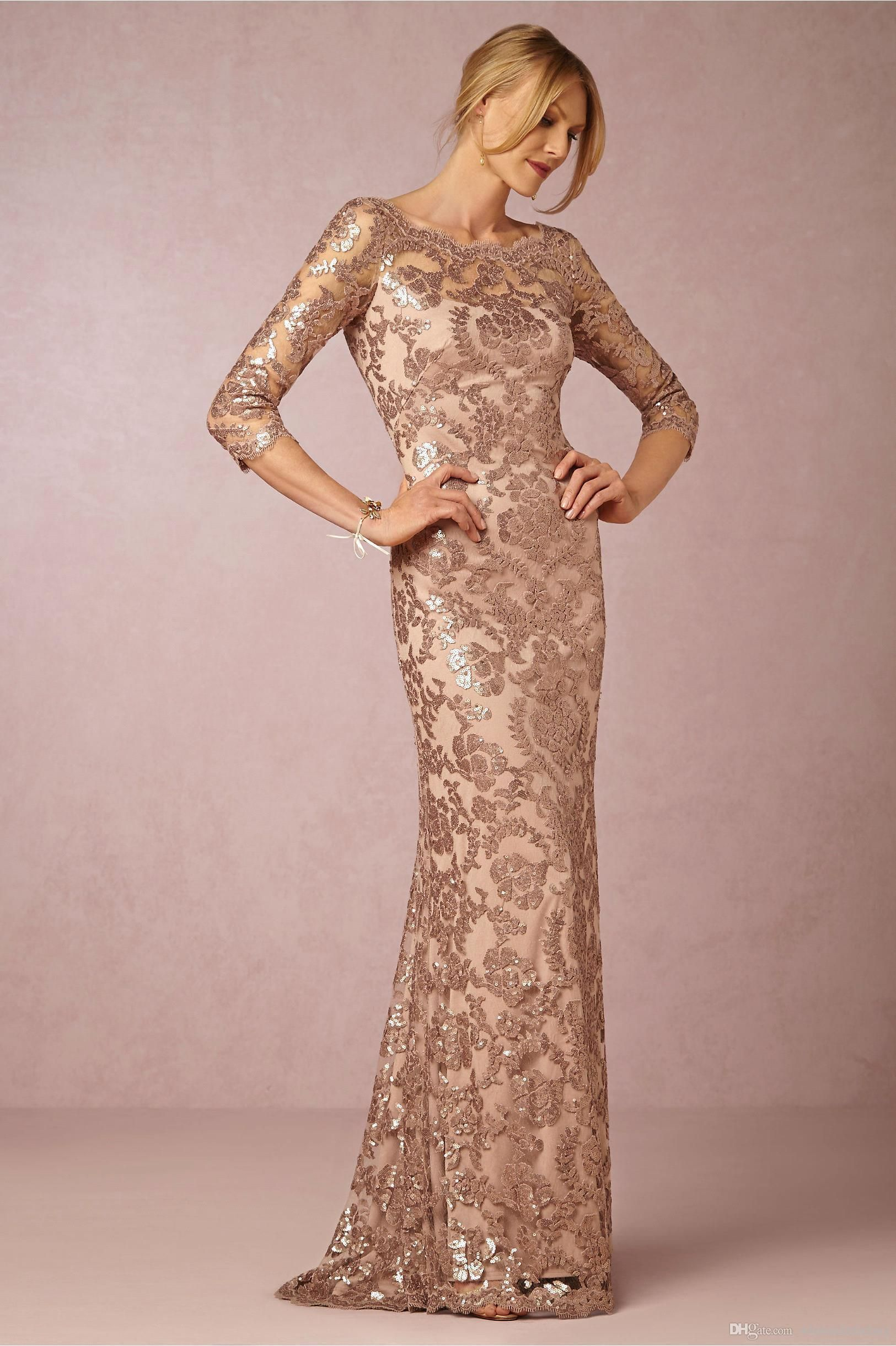 Long Sleeves Rose Gold Mother Of The Bride Groom Dresses Bateau Neck ... 5cf1ff55833a