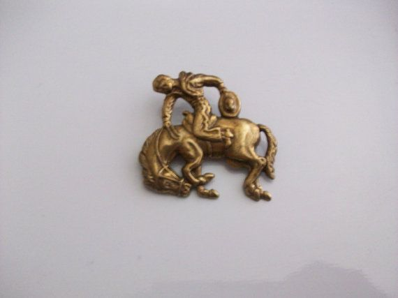 Vintage Gold Tone Cowboy on Horse Brooch by MICSJWL on Etsy, $12.00