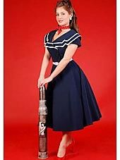 092470820867 Bettie Page Vintage Style Clothing-Black 50s Style Secretary Swing Dress. Nautical  50s Inspired Navy Blue White ...