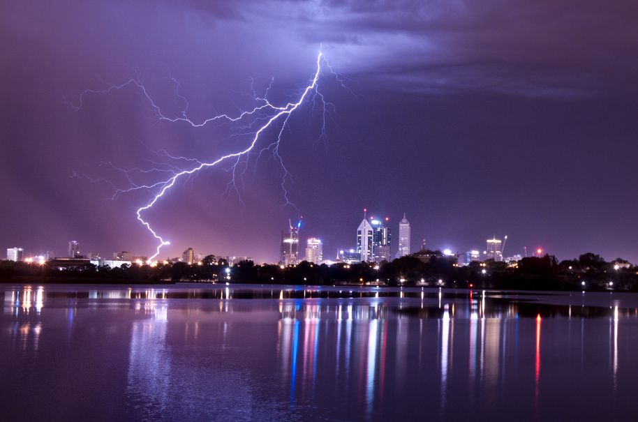 Lightning over Perth city
