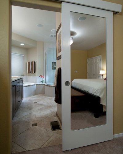 Wall Mount Sliding Door With A Double Sided Mirror For The Bedroom