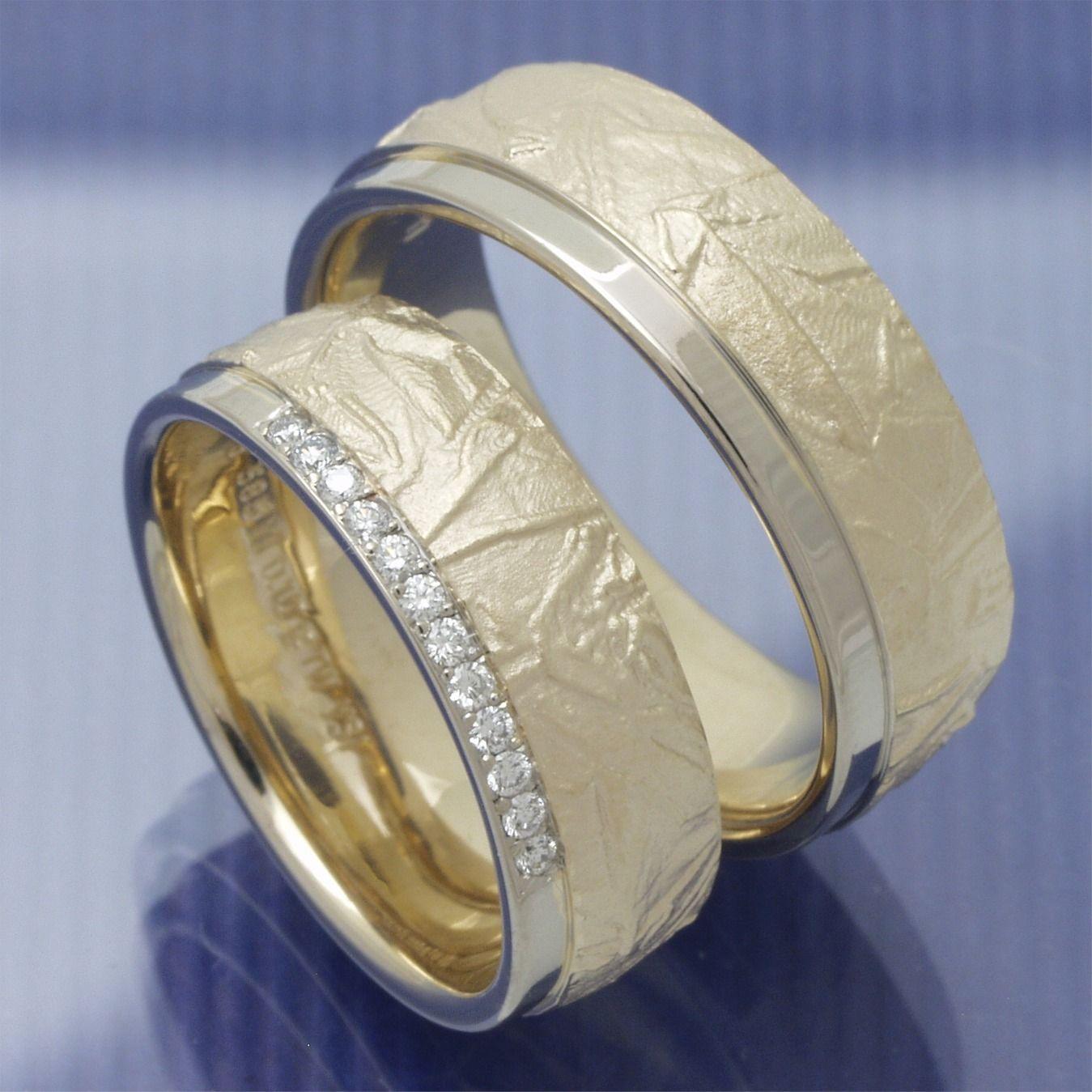 Besondere Trauringe Mit Knitter Oberfläche Trauringe Ring Verlobung Silberne Eheringe