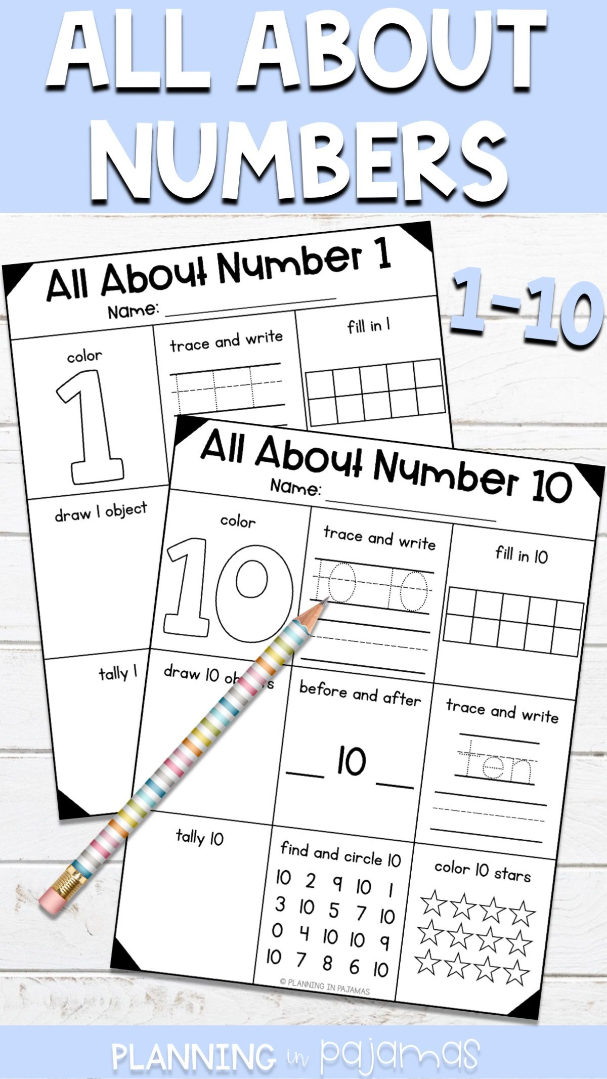 Number Worksheets 1 10 9 Skills Tested On Each Great For