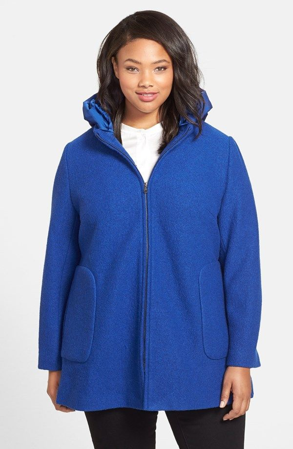 22fc74cbf06ab Kristen Blake Hooded Boiled Wool Blend Swing Coat (Plus Size ...