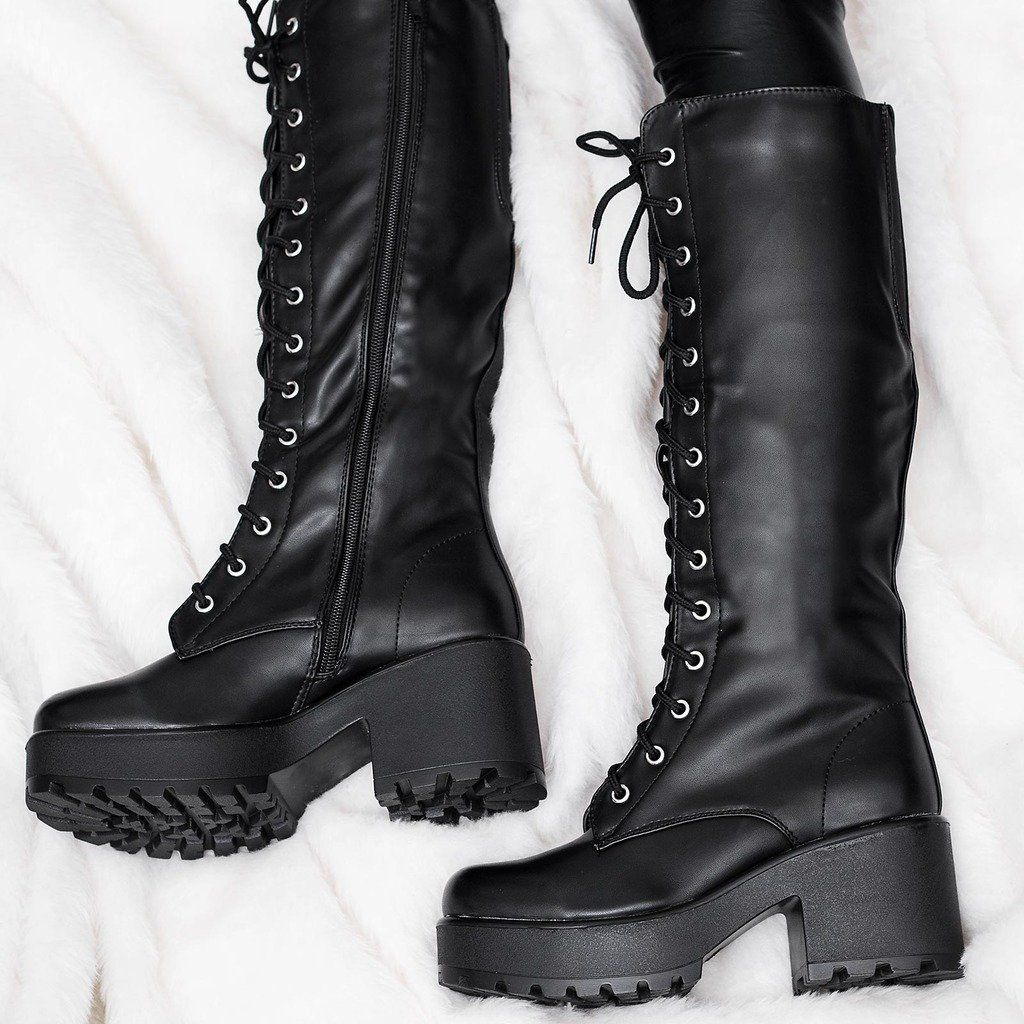 08ab76a9e4b Block Heel Cleated Sole Lace Up Platform Knee High Boots Black Synthetic  Leather US 8