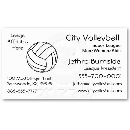 Volleyball Business Card Templates Full Image On Back Side Good For Coach Or League Officials Or Fans Volleyball Business Business Cards