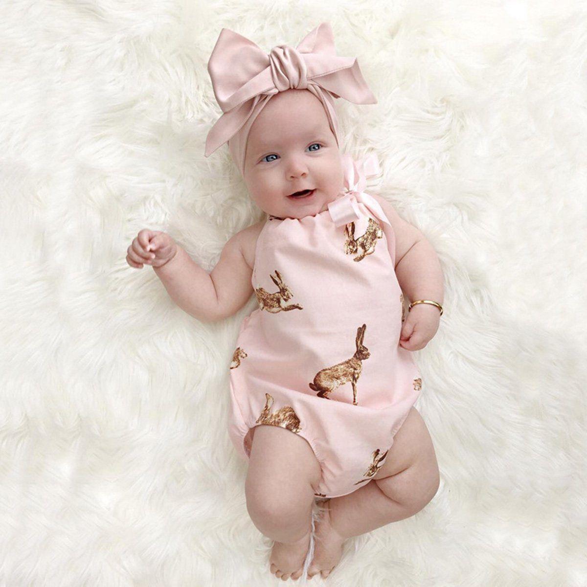 Newborn Baby Girl Clothes Romper Jumpsuit Bodysuit Headband Outfit Set 2PCS