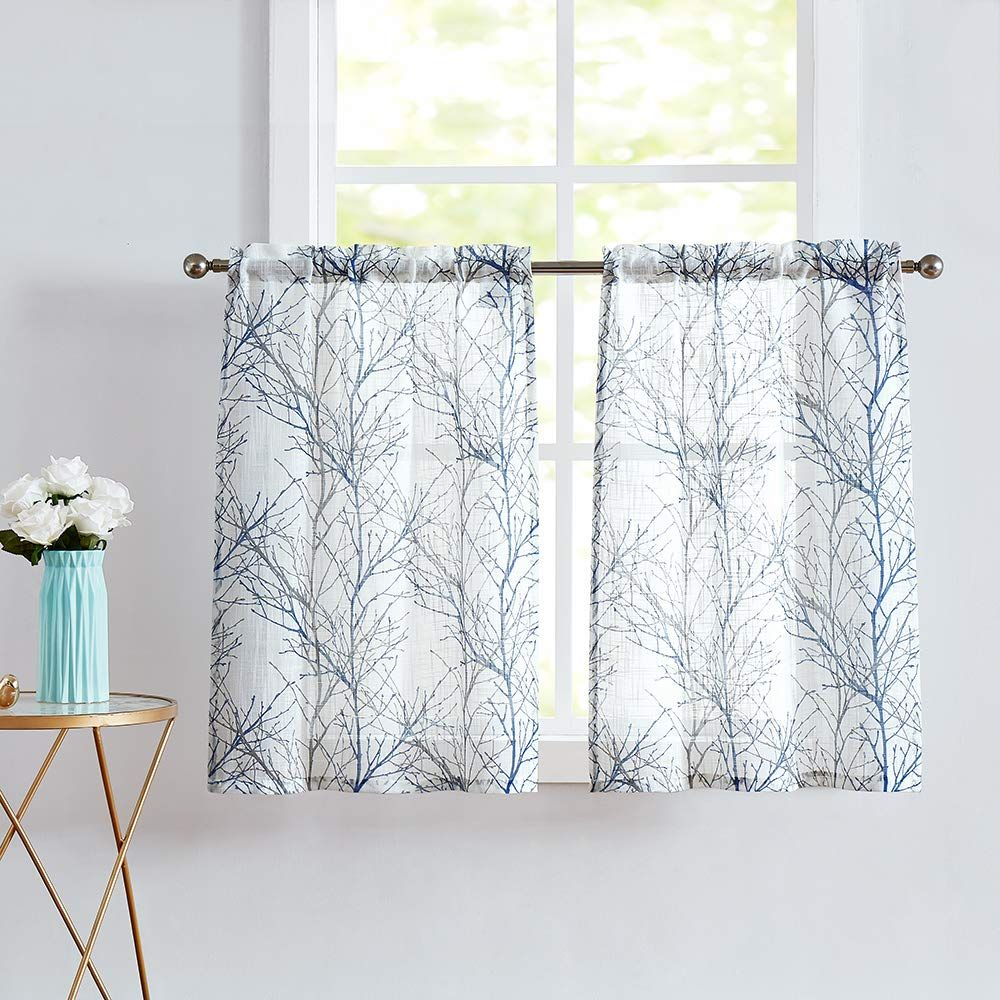Blue Kitchen Curtains 36 Grey Tree Print On White Tier Curtain