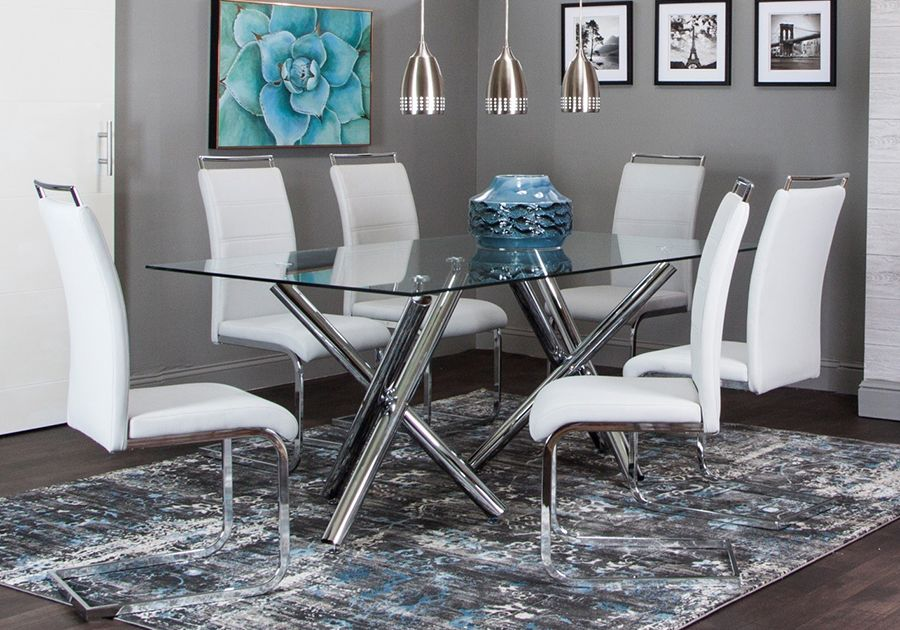 Mantis 5 Pc Dining Room Fabric Dining Chairs Tempered Glass