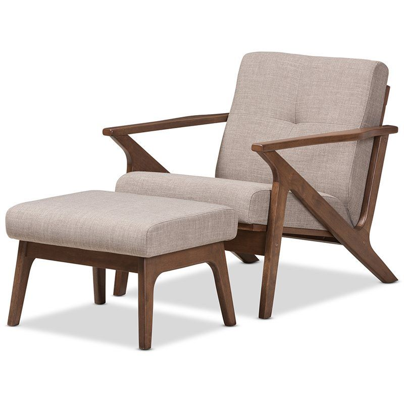 Baxton Studio Bianca Accent Arm Chair With Ottoman In Gray And Brown 842507106201 Ebay Chair And Ottoman Set Mid Century Lounge Chairs Ottoman Set