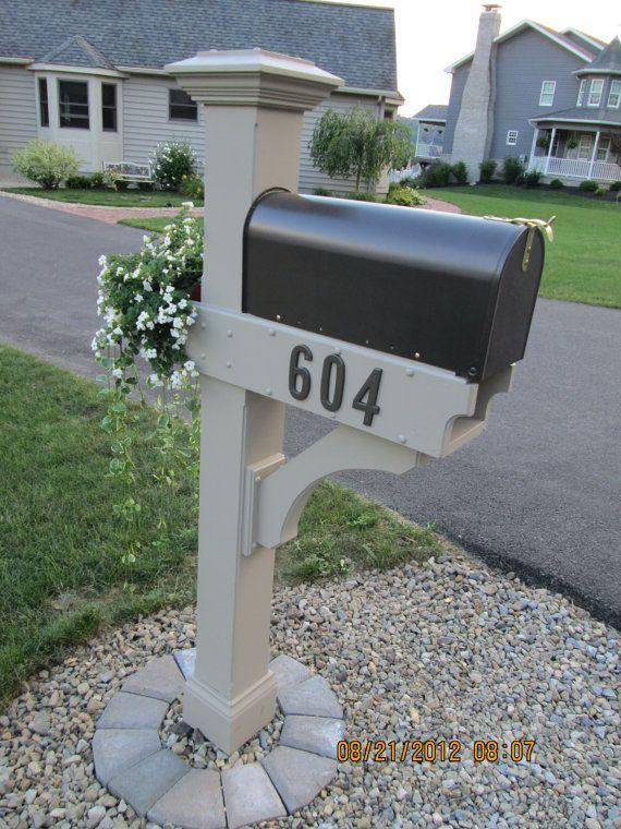 Mailbox Post Wooden With Planter Box And Newspaper Bin Mailbox Design Mailbox Landscaping Mailbox Garden