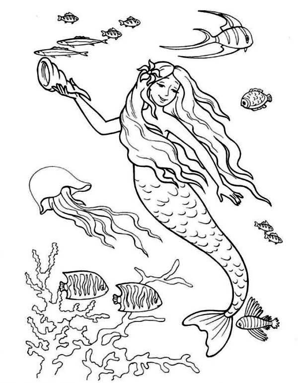 Mermaid Holding A Horn Shell Coloring Page Mermaid Coloring Mermaid Coloring Pages Mermaid Coloring Book