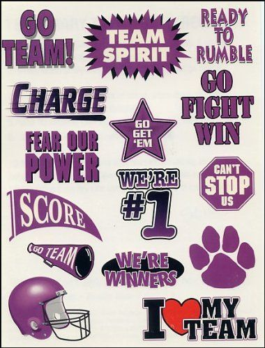 Team Spirit Purple Temporaray Tattoo by Tattoo Fun. $4.95. Purple Team Spirit temporary tattoos. 15 tattoos on sheet. Score. Go Team. #1. Go. Fight. Win. Charge. Sheet size 4 1/2x 6.\r\nBULK SPECIAL: Buy 20 units or more for just $2.50 each! \r\n Buy 100 units or more for just $1.00 each!