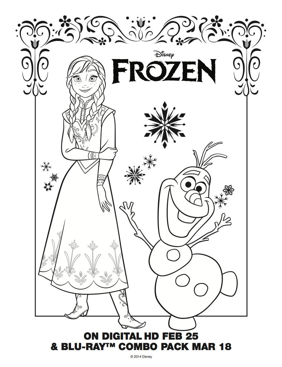 Anna And Olaf Coloring Page Frozen Movie Night Disney Movie