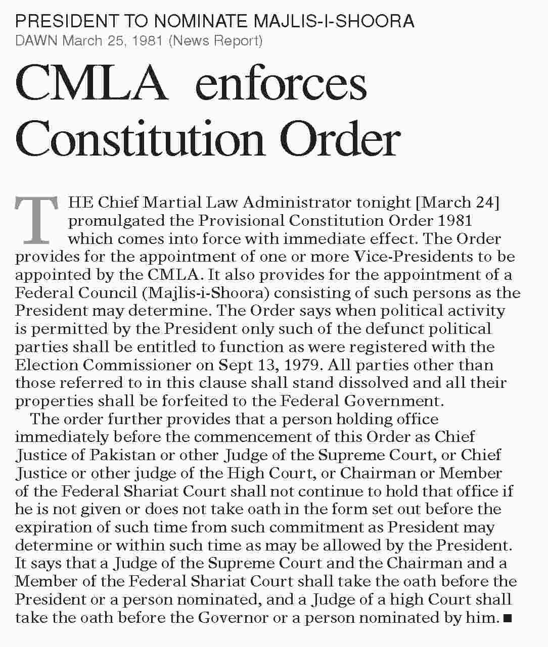 Cmla Enforces Constitution Order