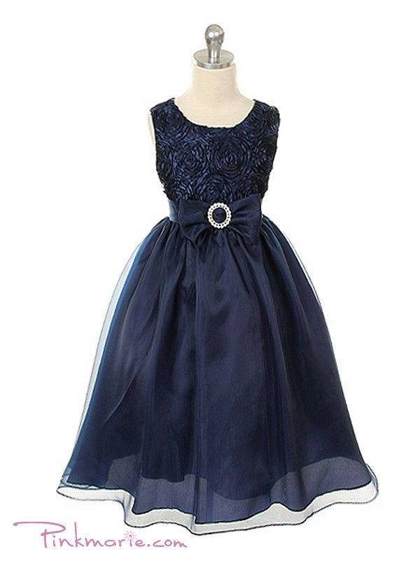 Navy blue flower girl dress wedding bridesmaid pick up 6m 12m 2 3t ...