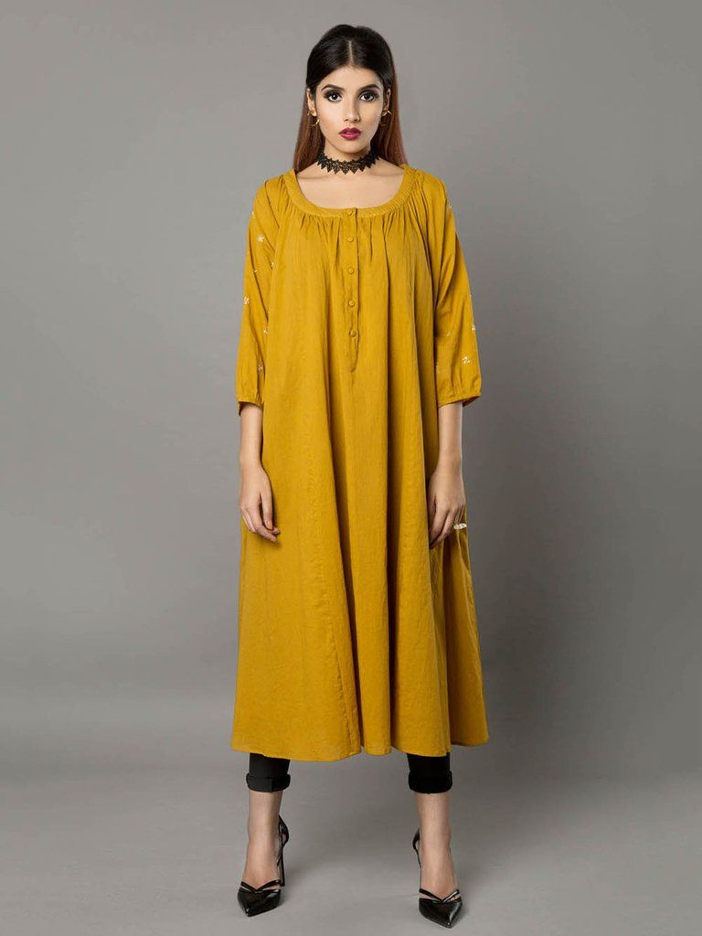 Mustard cotton dresstunic by ritu jain singh kurti tunics long