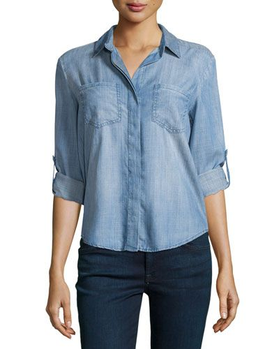New Velvet Heart Denim Split-Back Tab-Sleeve Blouse, Fade. >New Velvet Heart Blouse. $$Regular Price $98, @@See New offer from top Seller. #Velvet#Heart#Denim#Split-Back#Tab-Sleeve#Blouse,#Fade-Blouse