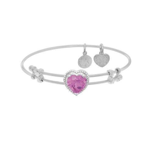 Angelica 7.25 Inches Purple Flower CZ Heart Bangle Bracelet Adjustable