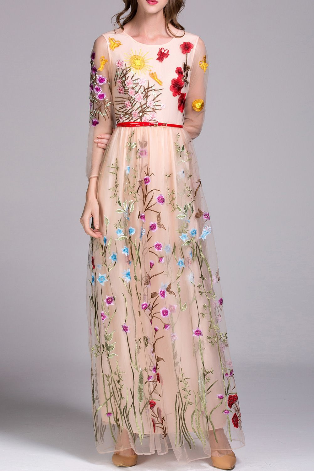 Embroidered voile evening dress floral embroidery for Flower embroidered wedding dress