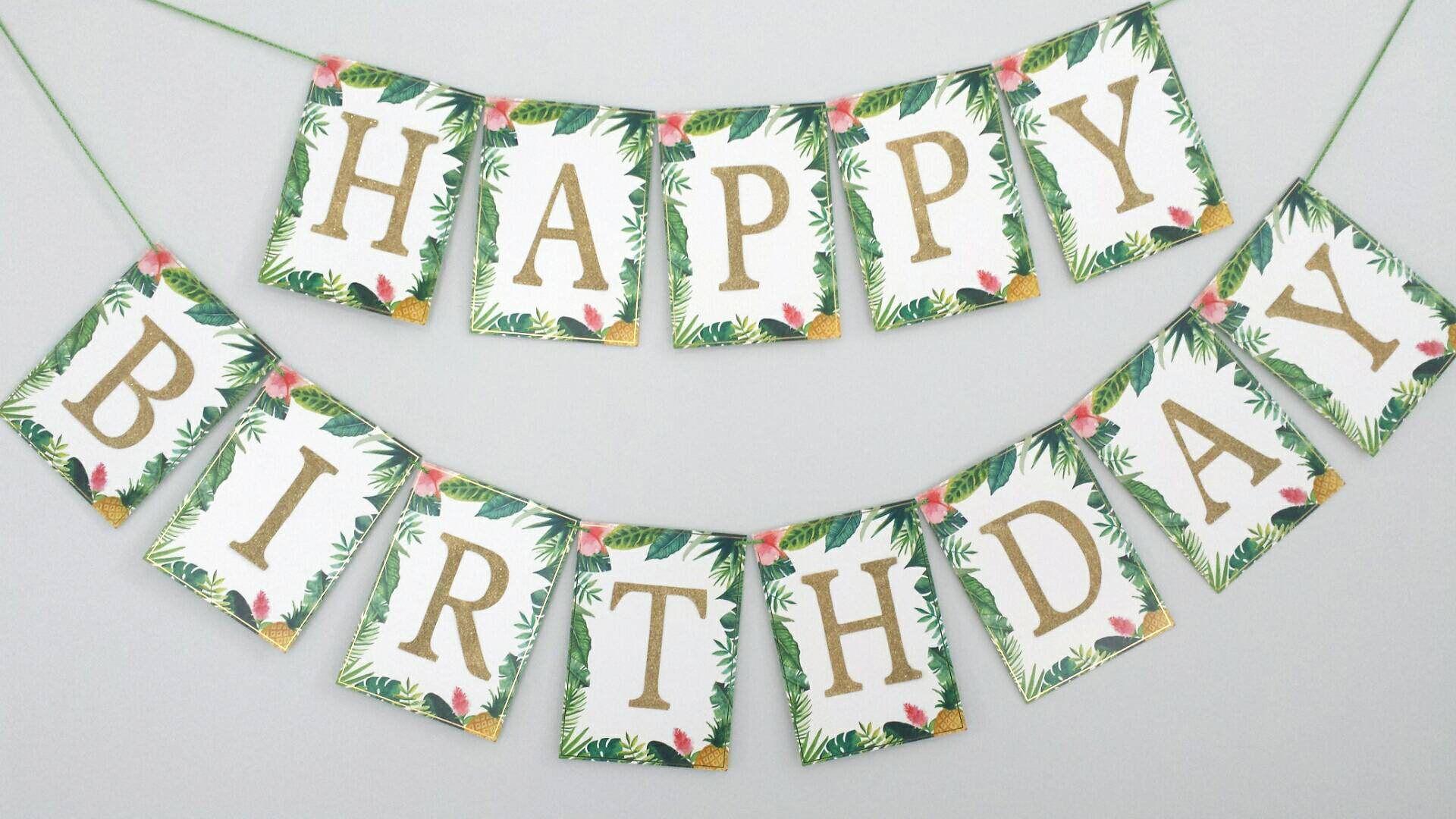 Tropical Happy Birthday Banner, Summer Themed, Birthday