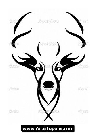 Tribal Deer Head Tattoos 04 Deer Skull Drawing Deer Stencil Skulls Drawing