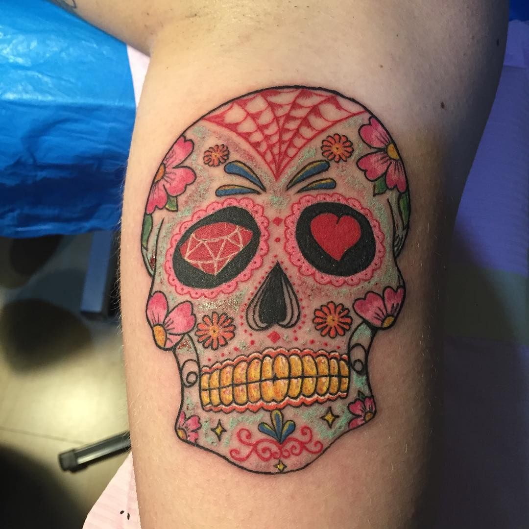Sugar skull tattoo on mans calf with diamond love flower sugar skull tattoo on mans calf with diamond love flower symbols biocorpaavc Images