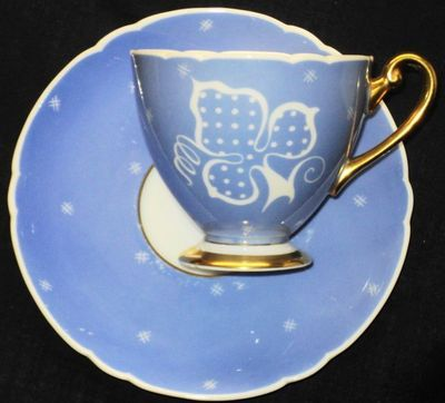Shelley White Wedgwood Blue Mauve Sgriffito Ripon Tea Cup and Saucer